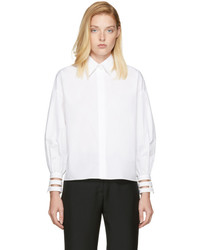 Fendi White Transparent Cuff Shirt