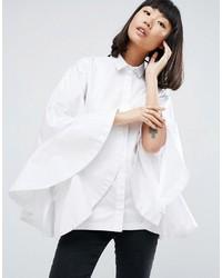 Asos White White Extreme Frill Batwing Shirt