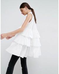 Asos White White Sleeveless Multi Frill Oversize Shirt