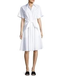 Diane von Furstenberg Collared Cotton Tie Front Shirtdress White