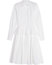 Cotton poplin peplum shirt dress white medium 1032728