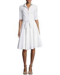 Diane von Furstenberg Half Sleeve Belted Shirtdress White