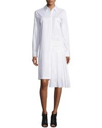 DKNY Long Sleeve Collared Poplin Shirtdress White