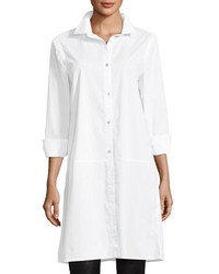 Eileen Fisher Long Sleeve Stretch Cotton Lawn Shirtdress Plus Size