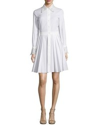 Michael Kors Michl Kors Collection Crystal Eyelet Trim Long Sleeve Shirtdress Optic White