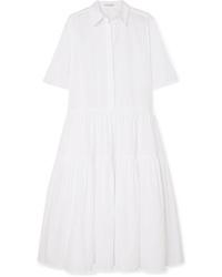 Cecilie Bahnsen Primrose Oversized Tiered Cotton Poplin Shirt Dress