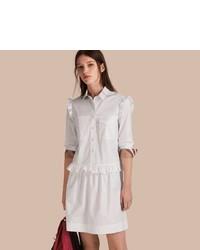 Burberry Ruffle And Check Detail Cotton Shirt Dress