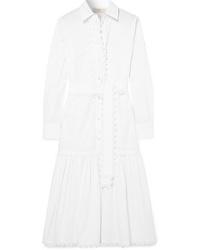 Tory Burch Scalloped Cotton Poplin Midi Dress