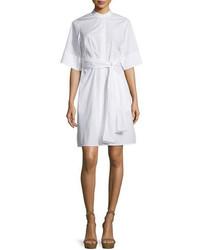 3.1 Phillip Lim Short Sleeve Belted Poplin Shirtdress White