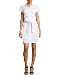 Diane von Furstenberg Short Sleeve Belted Shirtdress White