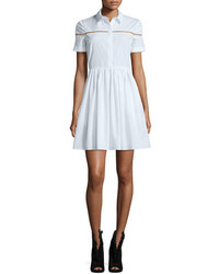 Burberry Short Sleeve Button Front Shirtdress White
