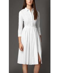 Burberry Skirted Stretch Cotton Shirt Dress