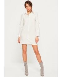 Missguided White D Ring Sleeve Shirt Dress