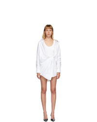 Alexander Wang White Falling Shoulder Twist Shirt Dress