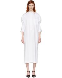 Haider Ackermann White Smocked Shirt Dress