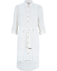 River Island White Textured Crepe Dipped Back Shirt Dress