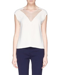 Sandro Ezel Sheer Panel Crepe Blouse