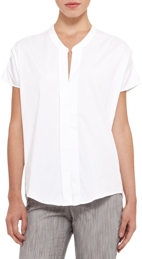 e565c5ed3ae297 Armani Collezioni Short Sleeve Stretch Cotton Blouse White, $425 ...