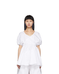 Cecilie Bahnsen White Angie Puff Sleeve Blouse