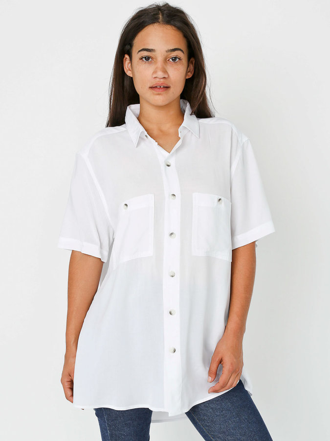 American Apparel Unisex Rayon Challis Short Sleeve Button Up Shirt