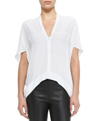 Helmut Lang Axio Short Sleeve Cropped Crepe Blouse