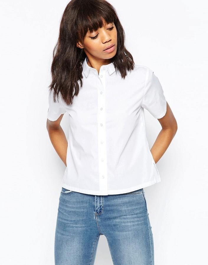cf8fc31b Asos Boxy White Shirt With Short Sleeve, $17 | Asos | Lookastic.com