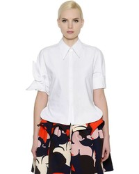DELPOZO Cotton Poplin Short Sleeve Shirt