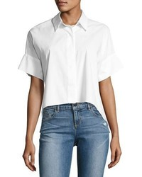 Edyth short sleeve high low drapey button down shirt white medium 3879894