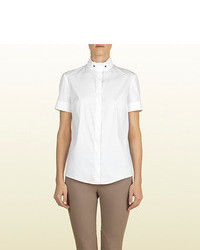 Gucci White Short Sleeve Shirt From Equestrian Collection
