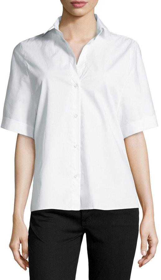 45b1cf73c498 ... Halston Heritage Oversized Short Sleeve Button Front Blouse White ...
