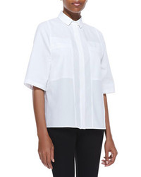 Halston Heritage Poplin Short Sleeve Boxy Shirt Cotton