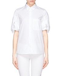 See by Chloe See By Chlo Pleat Bow Sleeve Cotton Poplin Shirt