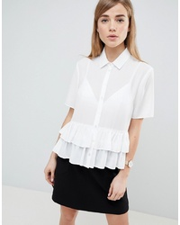 ASOS DESIGN Short Sleeve Soft Shirt With Double Ruffle Hem