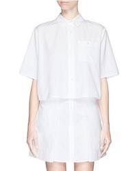 Alexander Wang T By Boxy Cropped Cotton Oxford Shirt