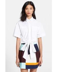 MSGM Tie Front Crop Shirt