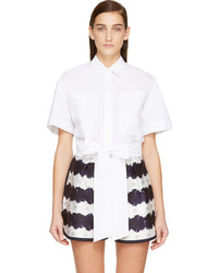 MSGM White Cropped Button Up Blouse