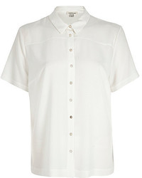 River Island White Short Sleeve Boxy Shirt