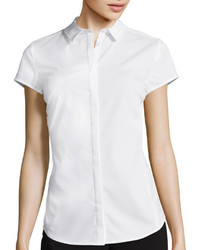 Worthington Worthington Short Sleeve Button Front Oxford Shirt Petite
