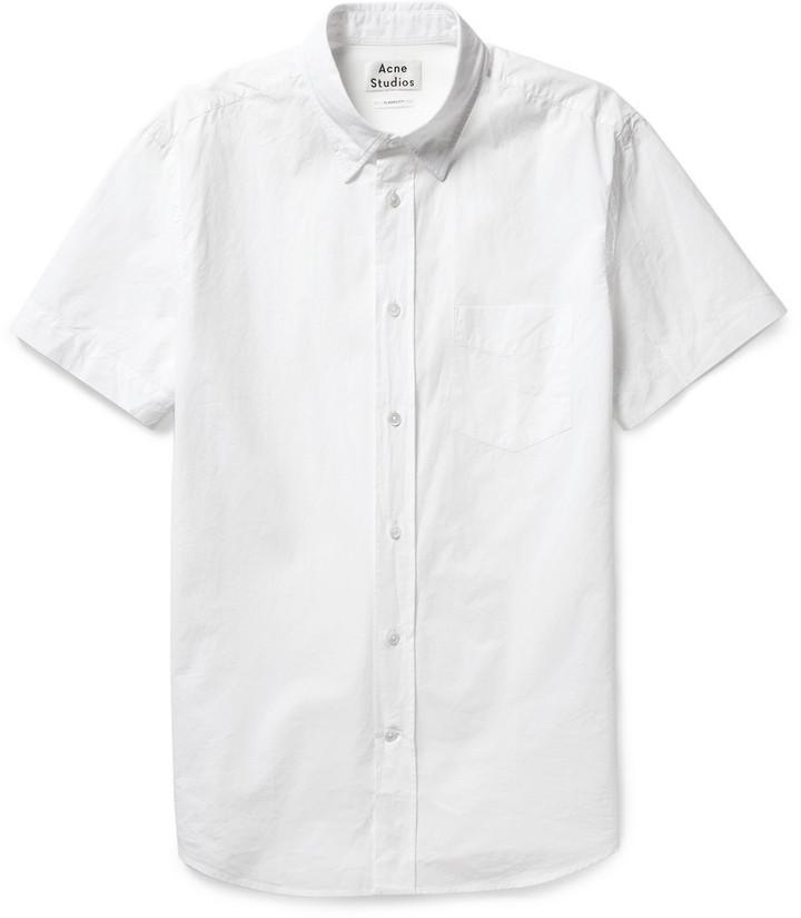 White Short Sleeve Shirt Acne Studios Isherwood Button