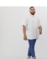 Tommy Hilfiger Big Tall Short Sleeve Poplin Shirt Flag Logo Stretch In White