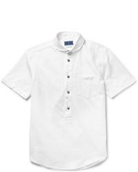 Blue Blue Japan Mini Club Collar Cotton And Linen Blend Oxford Shirt