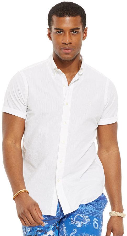 Polo Ralph Lauren Check Seersucker Shirt 85 Macy S Lookastic Com