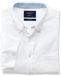 Charles Tyrwhitt Classic Fit White Short Sleeve Washed Oxford Shirt