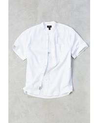 Cpo Seersucker Band Collar Short Sleeve Button Down Shirt