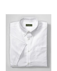 Eddie Bauer Wrinkle Free Relaxed Fit Short Sleeve Pinpoint Oxford Shirt Solid White Xl Regular Regular