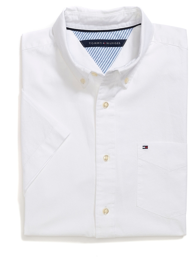 3e4152deb1b63 ... Tommy Hilfiger Final Sale Classic Fit Short Sleeve Oxford ...