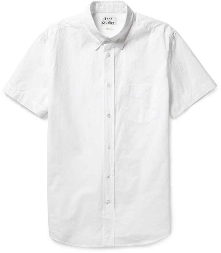 Acne Studios Isherwood Button Down Collar Cotton Poplin Shirt ...