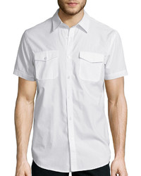 JF J.Ferrar Jf J Ferrar Short Sleeve Triple Needle Woven Button Front Shirt
