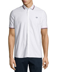 Fred Perry Knit Pique Button Front Shirt White