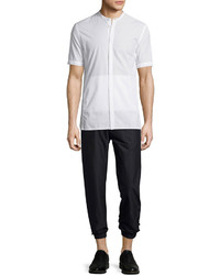 Helmut Lang Mandarin Collar Short Sleeve Shirt Optic White